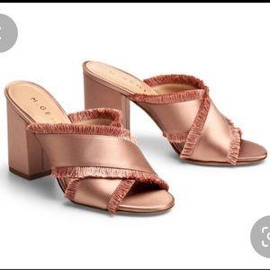 M.Gemi Satin Fringe Block Heel Sandals